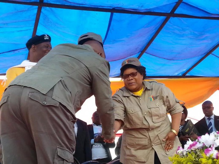 Joice Mujuru being welcomed at the rally in Harare on Saturday. Photo: ANA (Christopher Mahove)