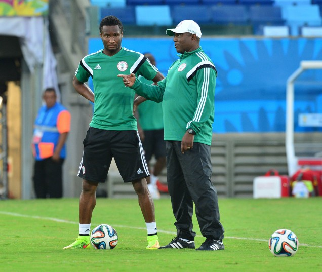 Stephen Keshi and John Obi Mikel of Nigeria discuss tactics during a training session ahead of the 2014 Brazil World Cup Final Group F football match between Nigeria and Bosnia at the Arena Pantanal in Cuiaba, Brazil on 20 June 2014 ©Gavin Barker/BackpagePix