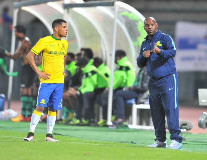 Pitso Mosimane, coach of Mamelodi Sundowns (right), advises Keagan Dolly. Photo: Samuel Shivambu/BackpagePix