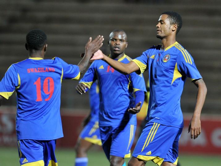 Felix Badenhorst of Swaziland (right) celebrates with team-mates. Photo: Muzi Ntombela/BackpagePix