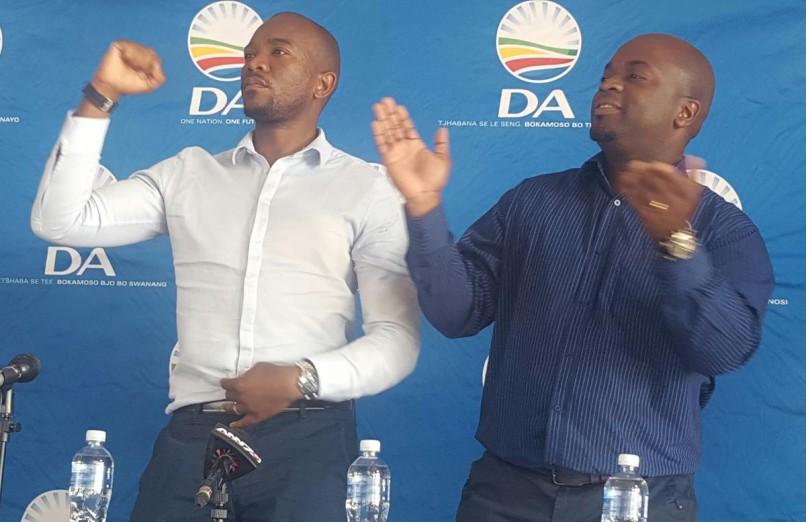 DA leader Mmusi Maimane and Tshwane mayoral candidate Solly Msimanga in Soshanguve, north of Pretoria. Photo: ANA