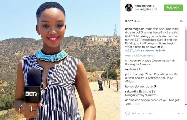 Nandi Mngoma's post on Instagram.