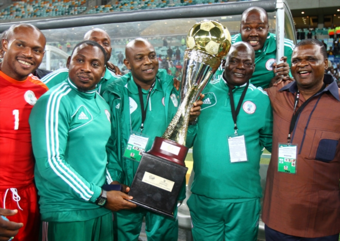 Stephen Keshi (Head Coach) celebrates with the trophy during the 2013 Nelson Mandela Challenge match between South Africa and Nigeria at Moses Mabhida Stadium on August 14, 2013 in in Durban, South Africa. (Photo by Anesh Debiky/Gallo Images)