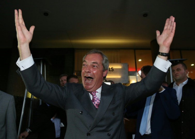 Leader of the UK Independence Party (UKIP), Nigel Farage reacts outside the Leave.EU referendum party in London as results indicated a UK exit from the EU.