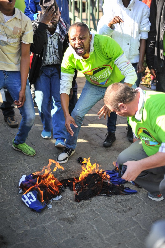 Protestors from the Patriotic Alliance protest outside the Eersterust Civic Centre, 15 June 2016, they came from Cape Town to disrupt a DAmeeting, Pretoria. Picture: Jacques Nelles