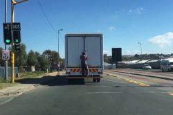 Watch: 'Truck surfing' in Joburg