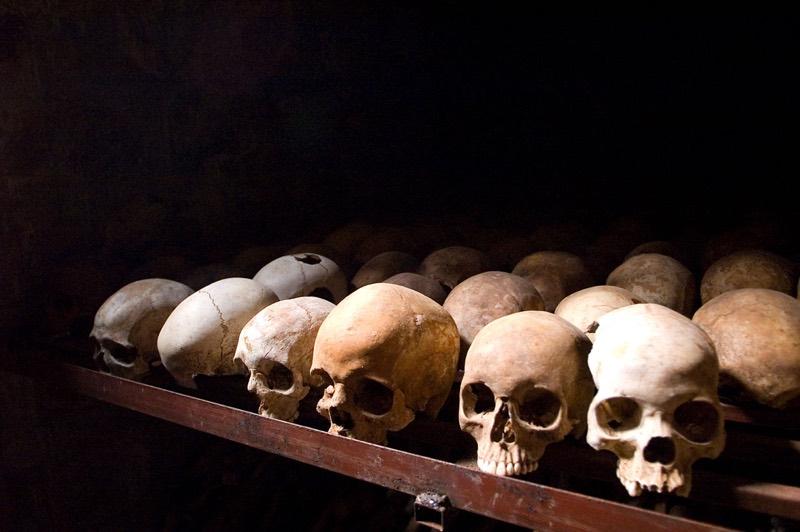 Human skulls at the Nyamata Genocide Memorial in Rwanda. Picture: Wikimedia Commons