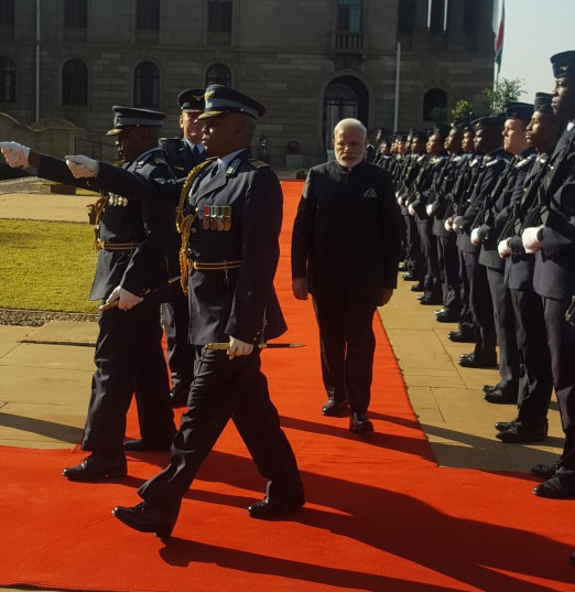 Indian leader Narendra Modi being welcomed in Pretoria. Picture: ANA