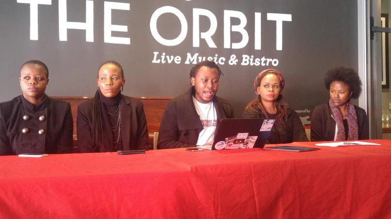 Dismissed ANN7 journalist Marcia Moyana, SABC journalist Busisiwe Ntuli, SOS Coalition coordinator Sekoetlane Phamodi, Thandeka Gcubule of the SABC and former ANN7 staffer Precious Rajane adress media in Johannesburg. PHOTO: Getrude Makhafola / ANA