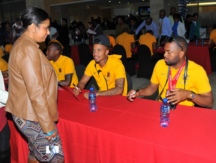 George Lebese and Itumeleng Khune of Kaizer Chiefs signning autographs in Johannesburg. (Samuel Shivambu/BackpagePix)
