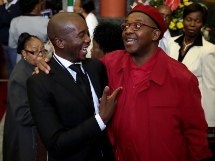 DA leader Mmusi Maimane and Dali Mpofu of the Economic Freedom Fighters. Picture: Gallo Images