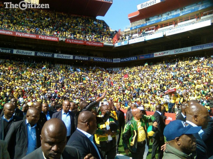 President Jacob Zuma arrives at Ellis Park Stadium for the party's final rally, Sunday July 31. Picture: Steven Tau