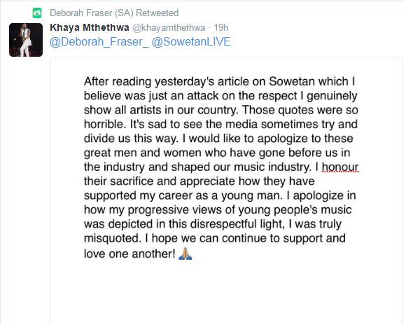 Khaya Mthethwa's apology.