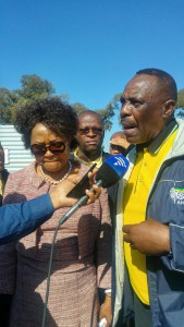 ANC chairperson Baleka Mbete and regional chairman Simon Mofokeng on the campaign trail in Midvaal on Sunday. Photo: ANA/Getrude Makhafola