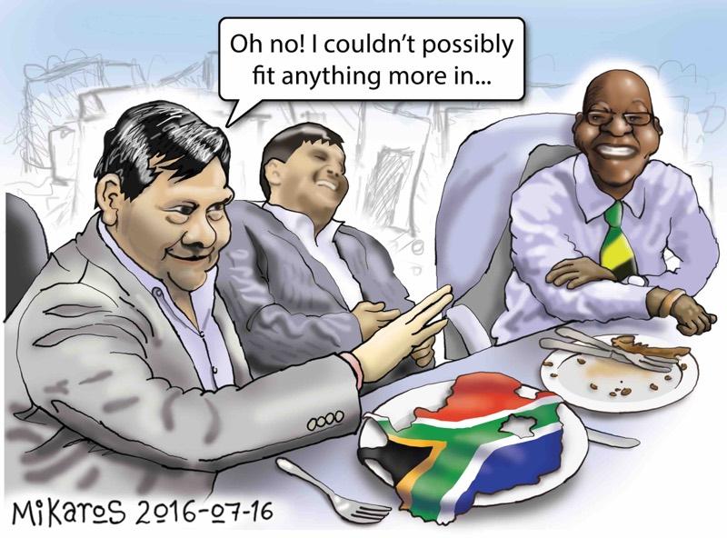 Mikaros' cartoon of Jacob Zuma with the Gupta brothers.