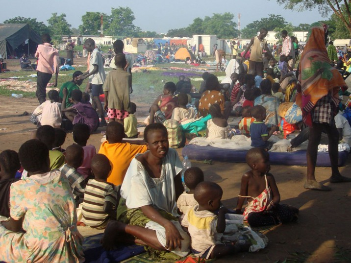 Some of the 3 000 displaced women, men and children in the United Nations compound in Juba this week. Picture: AFP