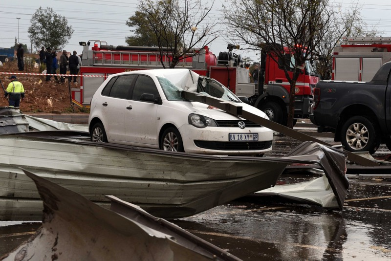 The aftermath of the tornado that swept through Tembisa yesterday afternoon.