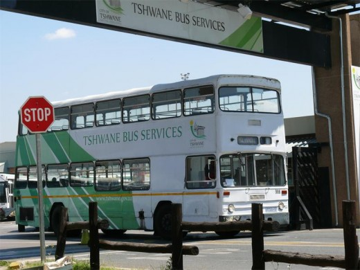 One of Tshwane's buses at the bus depot in Pretoria West. Photo: Ron Sibiya