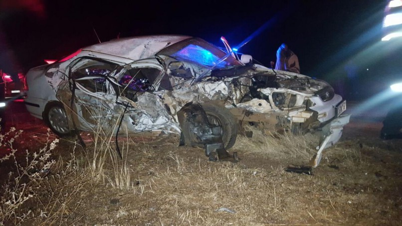 A man aged in his 30s was killed when a truck and car collided on the R501 about 3km outside Carletonville in Gauteng in the early hours of Saturday morning. Photo: ER24