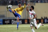 Zamalek's player Basem Morsi (R) in action against Sundowns player Thabo Nthethe (L) during the African Champions League (CAF) group stage soccer match between Zamalek's and Sundowns at Petro Sport stadium in Cairo, Egypt, 17 July 2016  EPA/KHALED ELFIQI