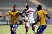 Zamalek's player Shikabala (C) in action  against Sundowns player Siyanda Zwane (R) and Wayne Arendse (L) during the African Champions League (CAF) group stage soccer match between Zamalek's and Sundowns at Petro Sport stadium in Cairo, Egypt, 17 July 2016  EPA/KHALED ELFIQI