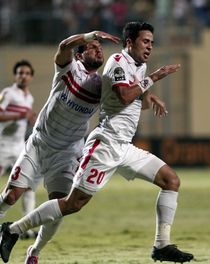 Zamalek's player Mohamed Ibrahim (R) celebrates after scoring against Sundowns during the African Champions League (CAF) group stage soccer match between Zamalek's and Sundowns at Petro Sport stadium in Cairo, Egypt, 17 July 2016  EPA/KHALED ELFIQI