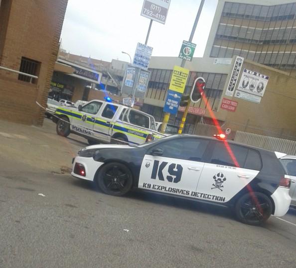 THE scene outside Standard Bank on Monday morning. Photograph: Kempton SAPS