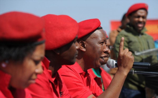 EFF leader Julius Malema speaks during the party's media conference regarding coalitions on August 17, 2016 in Alexandra, South Africa. The EFF announced that it will not form coalitions with other parties but would vote for the DA in the big cities. (Photo by Gallo Images / Beeld / Felix Dlangamandla)