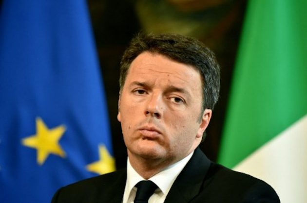 (FILES) This file photo taken on May 05, 2016 shows Italian Prine Minister Matteo Renzi giving a news conference with the German Chancelor in Rome's Palazzo Chigi. Weighed down by sluggish domestic demand and a bad debt-laden banking sector's inability to finance investment, the eurozone's third biggest economy ground to a standstill in the second quarter of 2016. That was bad news for Italian Prime Minister Matteo Renzi, who has staked his political future on a constitutional reform referendum scheduled for November and has to produce a 2017 budget by mid-October. / AFP PHOTO / ALBERTO PIZZOLI