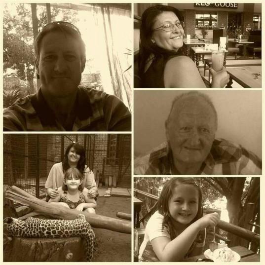 Clockwise: Marietjie Meyer, 46, Monty MacCormack, 73, Kayla Meyer, 9, Marietjie Meyer, 46, and Kayla Meyer and Kenny MacCormack, 42.