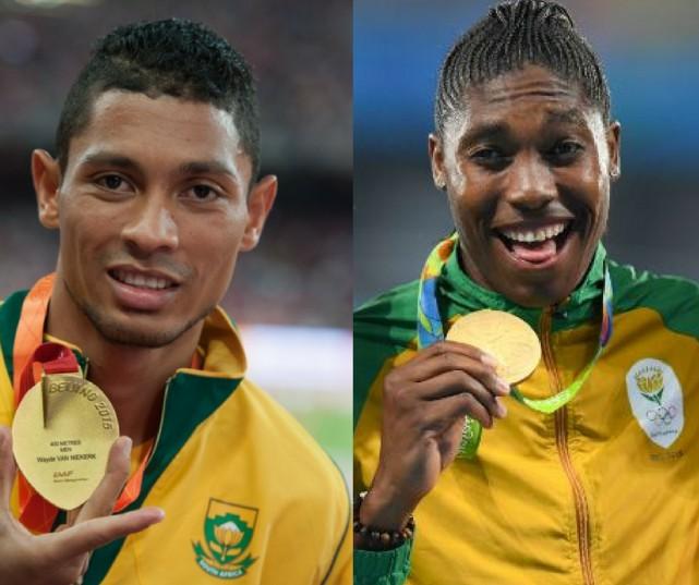 Olympic gold medalists Wayde van Niekerk and Caster Semenya. Gallo Images.