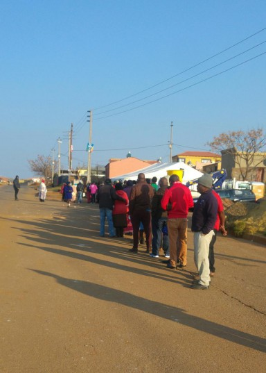 Residents of Freedom Park vote at a newly erected IEC tent.  Photo: Supplied
