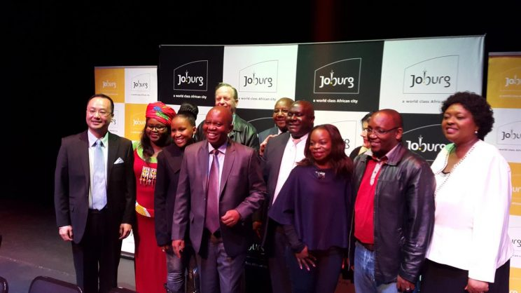 Johannesburg Mayor, Herman Mashaba, with his newly-appointed members of the mayoral committee at Joburg Theatre on Friday.
