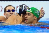 RIO DE JANEIRO, BRAZIL - AUGUST 12:  Michael Phelps of the USA and Chad le Clos (R) of South Africa embrace after winning joint Silver in the Men's 100m Butterfly Final on Day 7 of the Rio 2016 Olympic Games at the Olympic Aquatics Stadium on August 12, 2016 in Rio de Janerio, Brazil.  (Photo by Vaughn Ridley/Getty Images)