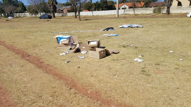 The boxes lying scattered across Koedoe Park in Rant-en-Dal. PHOTO: Supplied.