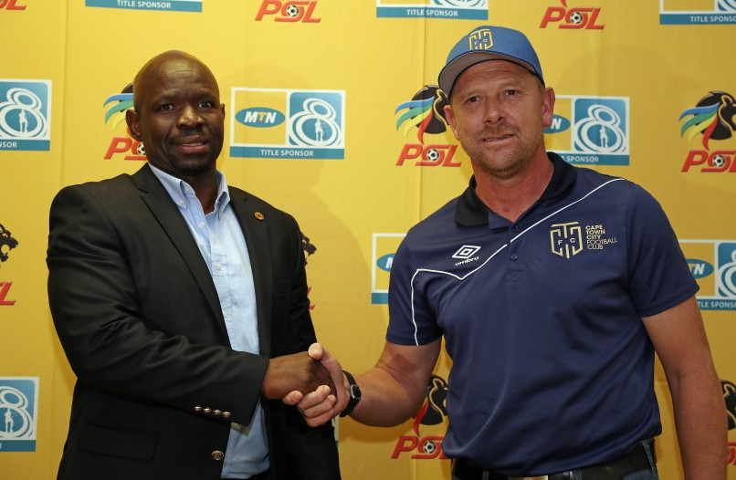 Eric Tinkler, Coach of Cape Town City FC (r) and Steve Komphela, Coach of Kaizer Chiefs (l) during the 2016/17 MTN8 Official Press Conference at Cape Town Stadium. (Chris Ricco/BackpagePix)