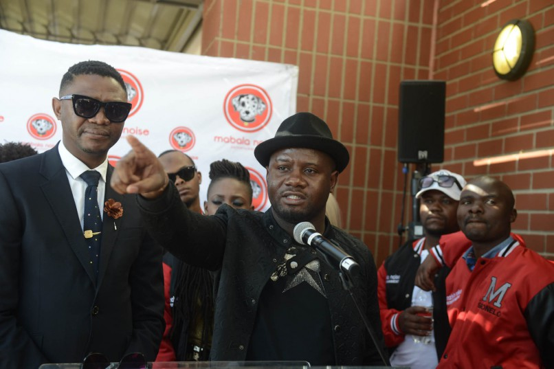 Mabala Noise Entertainment co-founders DJ Bongz and Reggie Nkabinde during a press conference. Photo by Gallo Images / Frennie Shivambu