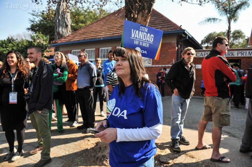 A DA supporter outside Capital Park Primary School voting station, 3 August 2016, Pretoria. Picture: Jacques Nelles