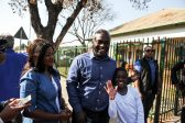 Solly Msimanga his wife and son outside Capital Park Primary School voting station, 3 August 2016, Pretoria. Picture: Jacques Nelles