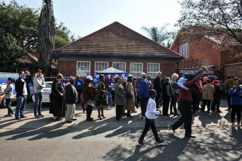 The que outside Capital Park Primary School voting station, 3 August 2016, Pretoria. Picture: Jacques Nelles