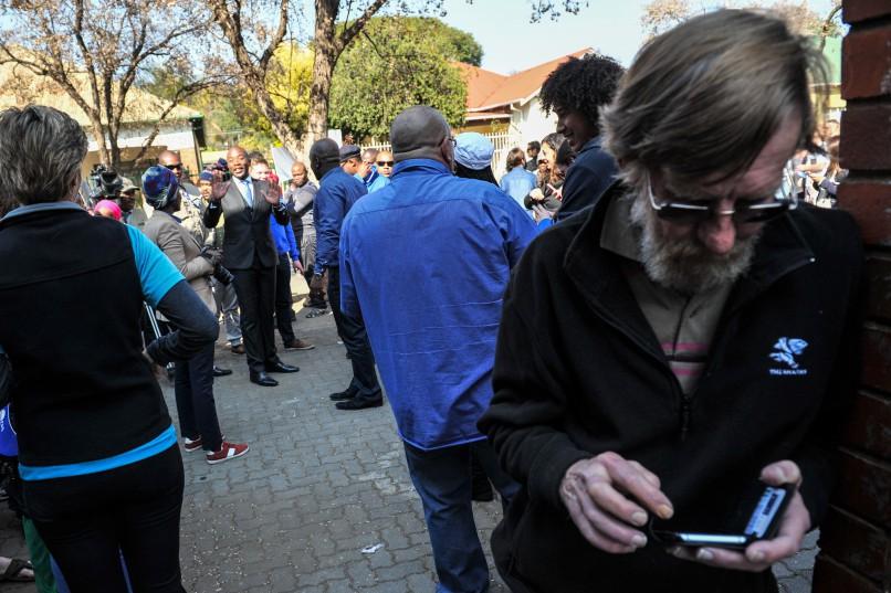 DA leader Mmusi Maimane outside Capital Park Primary School voting station, 3 August 2016, Pretoria. Picture: Jacques Nelles