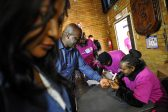 Solly Msimanga getting his finger inked at Capital Park Primary School voting station, 3 August 2016, Pretoria. Picture: Jacques Nelles