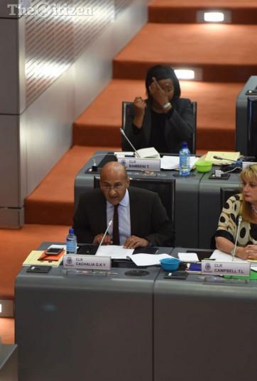 Opposition leader Ghaleb Cachalia replies to the Ekurhuleni mayor, Mzwandile Masina's speech during the sitting of the Ekurhuleni council in Germiston, 31 August 2016. Picture: Neil McCartney