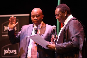 Newly elected Mayor of Johannesburg, Herman Mashaba is sworn in by Judge President, Dunstan Mlambo during an event at the Joburg Theatre in Braamfontein, in which he and his MMC's were sworn into office, 26 August 2016.   Picture: Neil McCartney