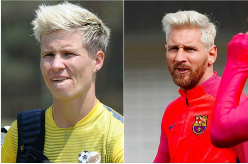 Janine van Wyk (L) and Lionel Messi (R)