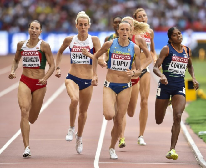 Marina Arzamasova of Belarus, Lynsey Sharp of Great Britain, Natalia Lupu of Ukraine and Tintu Lukka of India in the women's 800m heats during day 5 of the 2015 IAAF World Championships at National Stadium on August 26, 2015 in Beijing, China. Picture: Gallo Images