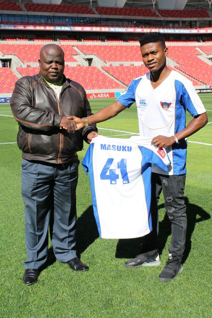 Menzi Masuku with Chippa United chairman Siviwe Mpengesi.
