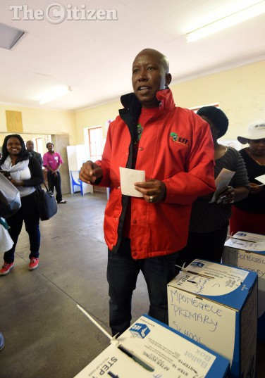 EFF Leader Julius Malema  casting his vote at Mponegele Primary School in Polokwane, 3 August 2016, during the local government elections. Picture: Nigel Sibanda
