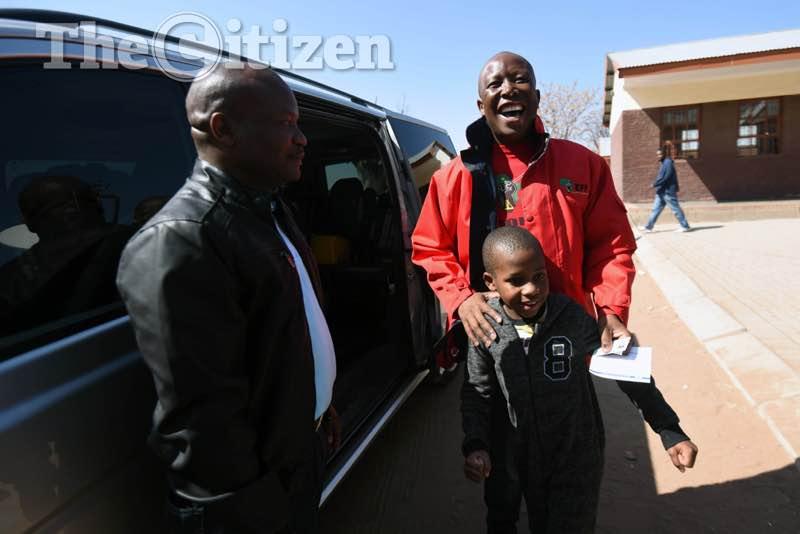 Julius Malema on voting day. Picture: Nigel Sibanda