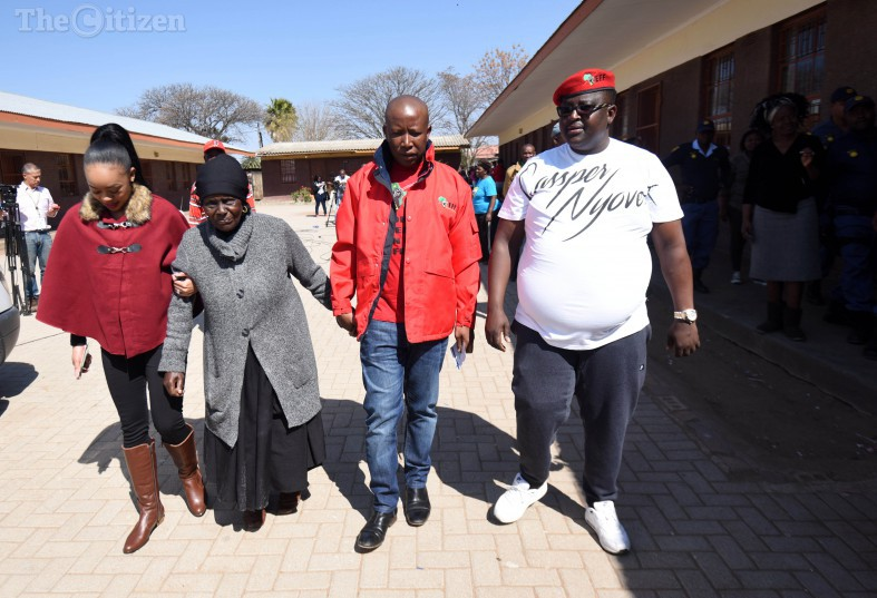 Malema's wife Mantwa Matlala, His grandmother,  EFF Leader Julius Malema and  EFF provincial secretary Jossy Buthane after casting their votes at Mponegele Primary School in Polokwane, 3 August 2016, during the local government elections. Picture: Nigel Sibanda